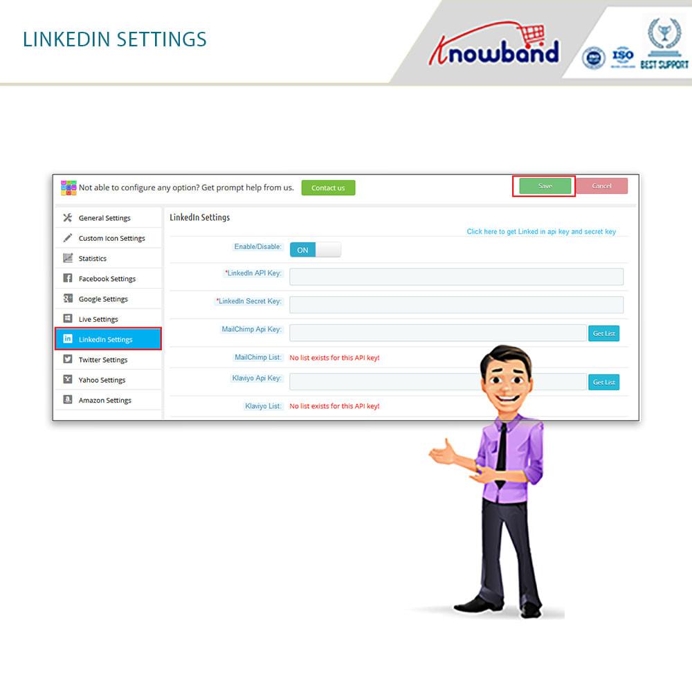 module - Przyciski do logowania  & Connect - Knowband - Social Login 14 in 1, Statistics & MailChimp - 4