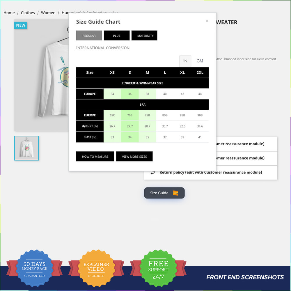 module - Omvang en eenheden - Size Guidance - Product Size Chart - 2