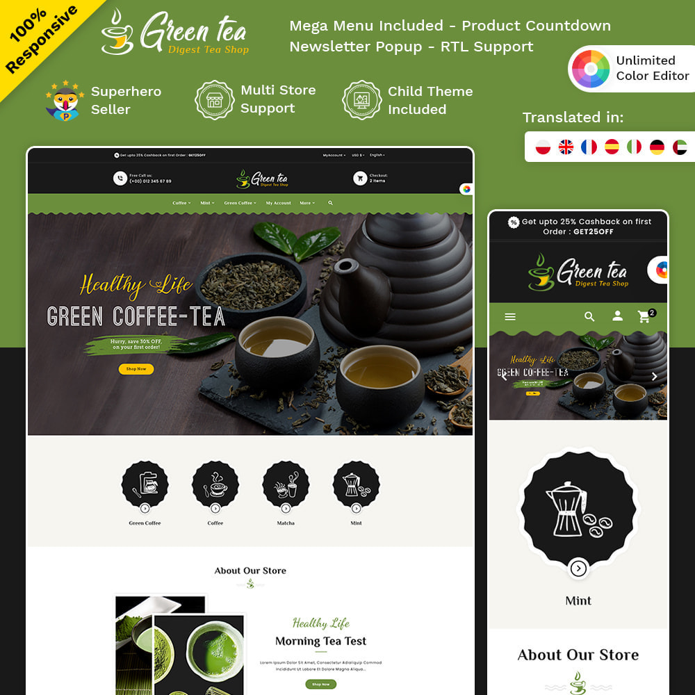 theme - Salud y Belleza - Green Tea - Digest Tea Shop - 1