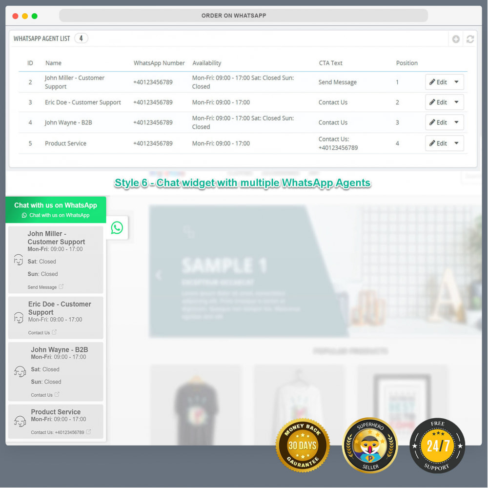 module - Support & Online Chat - WhatsApp Integration PRO - Quick Order, Chat, Agents - 17