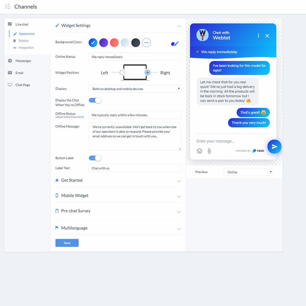 module - Поддержка и онлайн-чат - Tidio Live chat, Bots and Messenger - 5