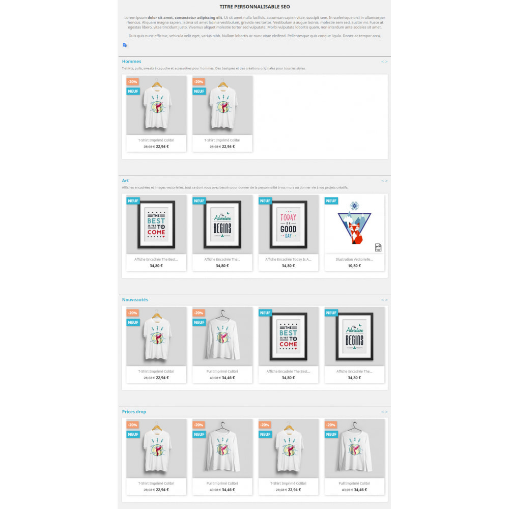 module - Вариаций и персонализации товаров - Products by categories on the home page - 5