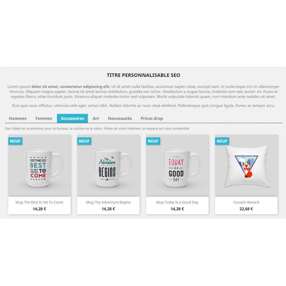 module - Déclinaisons & Personnalisation de produits - Products by categories on the home page - 2