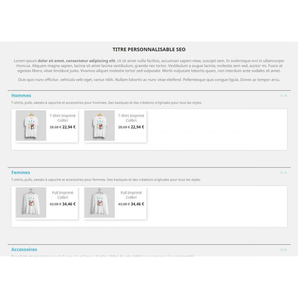 module - Déclinaisons & Personnalisation de produits - Products by categories on the home page - 6