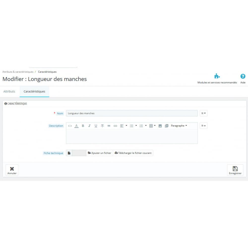 module - Personnalisation de Page - Ajout d'infos. aux caractéristiques de vos produits - 1