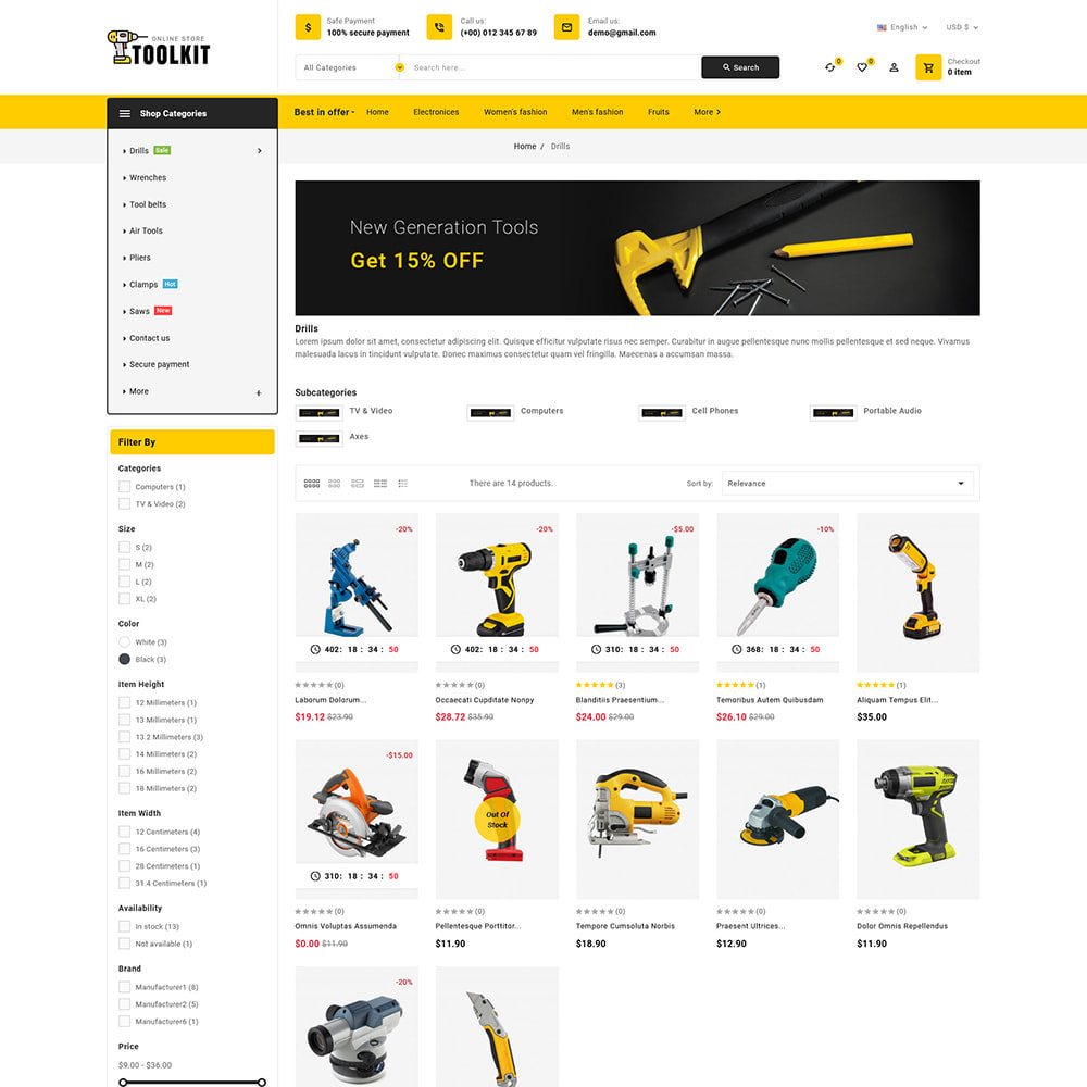 theme - Elettronica & High Tech - Toolkit - Mega Tools Store - 5