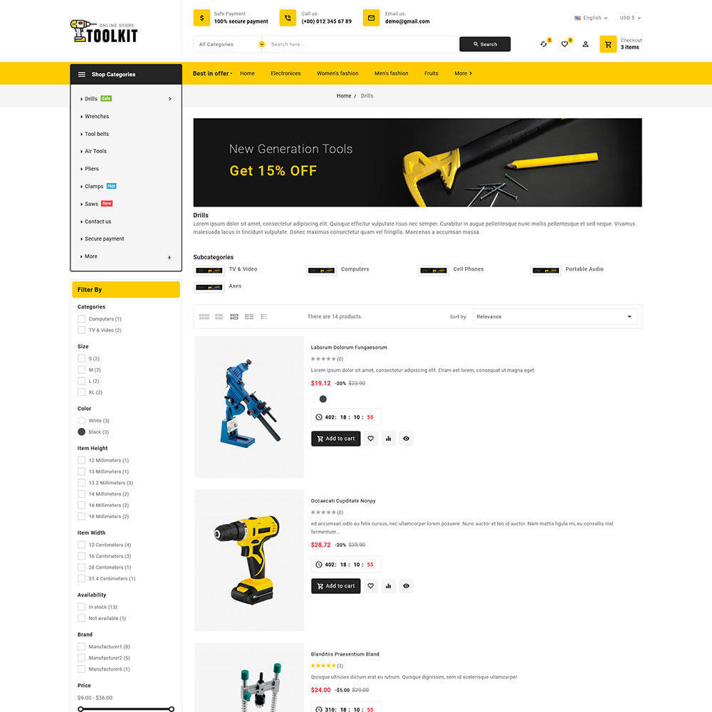 theme - Elettronica & High Tech - Toolkit - Mega Tools Store - 7