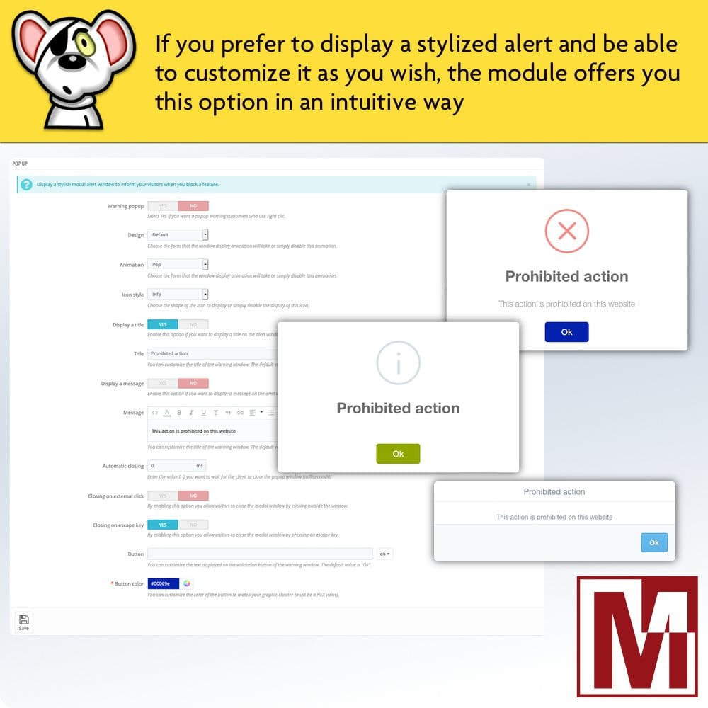 module - Sicherheit & Berechtigungen - Prohibit right-click and secure data - 5