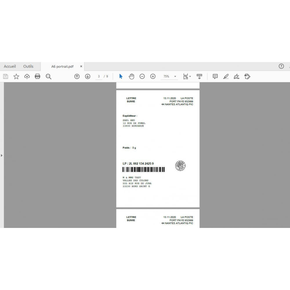 module - Etiquettes & Logos - Étiquetage courrier suivi, port payé - 8