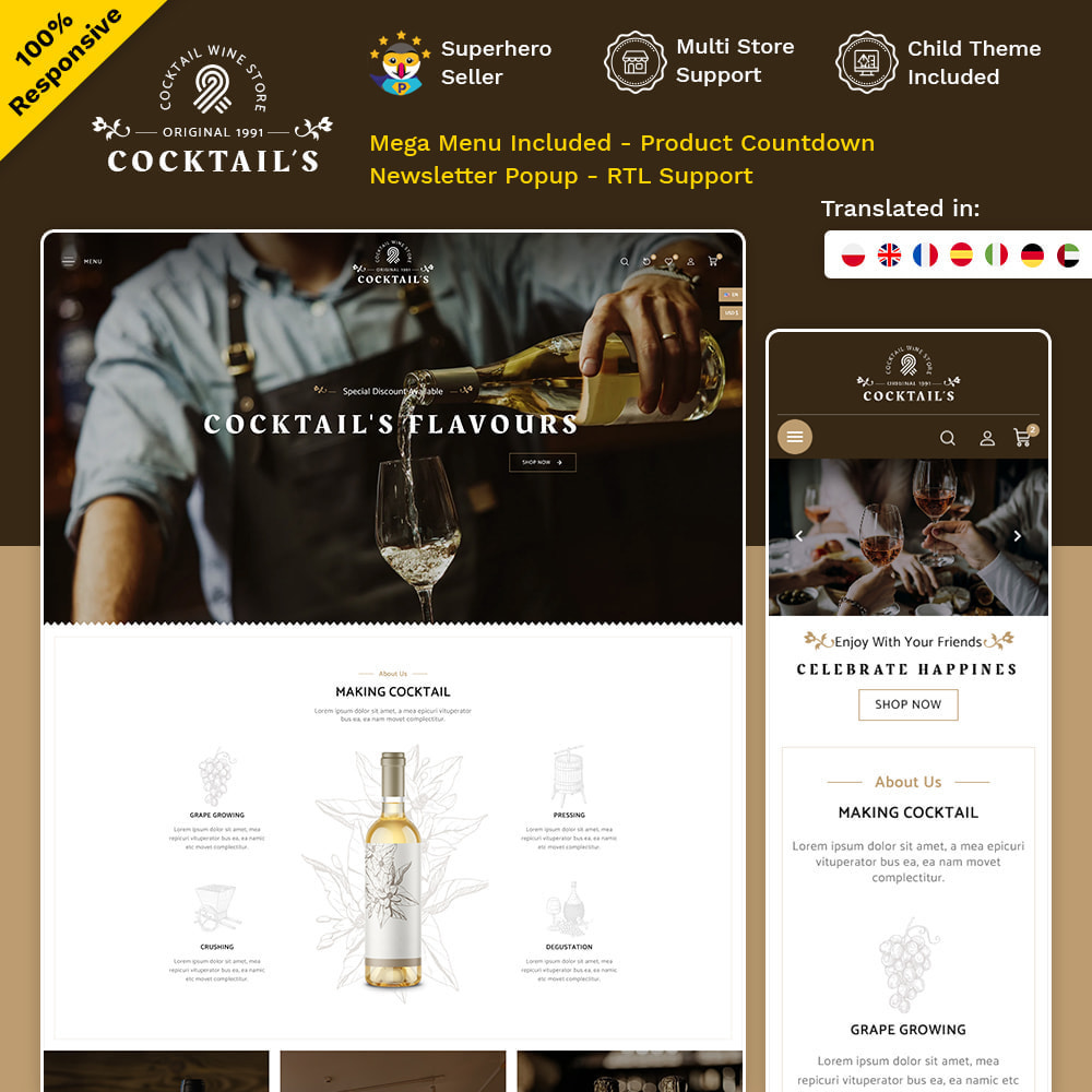 theme - Drink & Tobacco - Cocktail - Wine – Alcohol Cigarettes Drink Store - 1