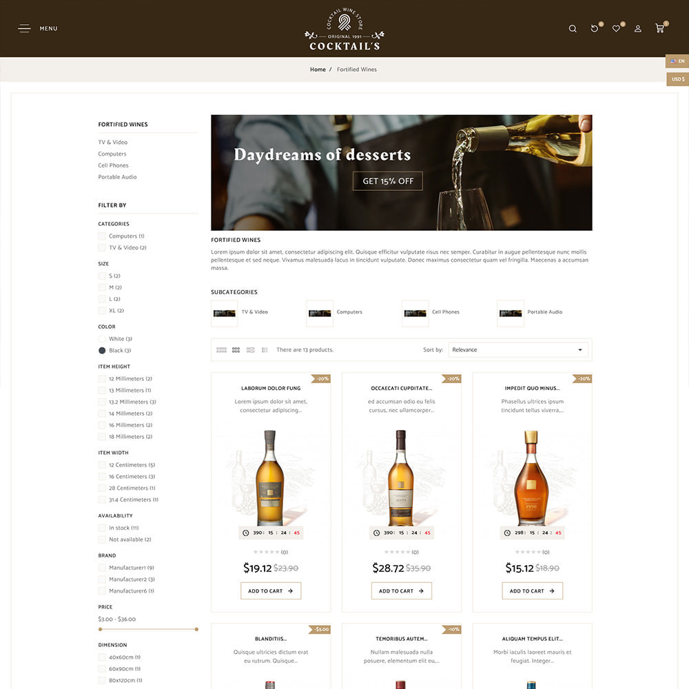 theme - Drink & Tobacco - Cocktail - Wine – Alcohol Cigarettes Drink Store - 4
