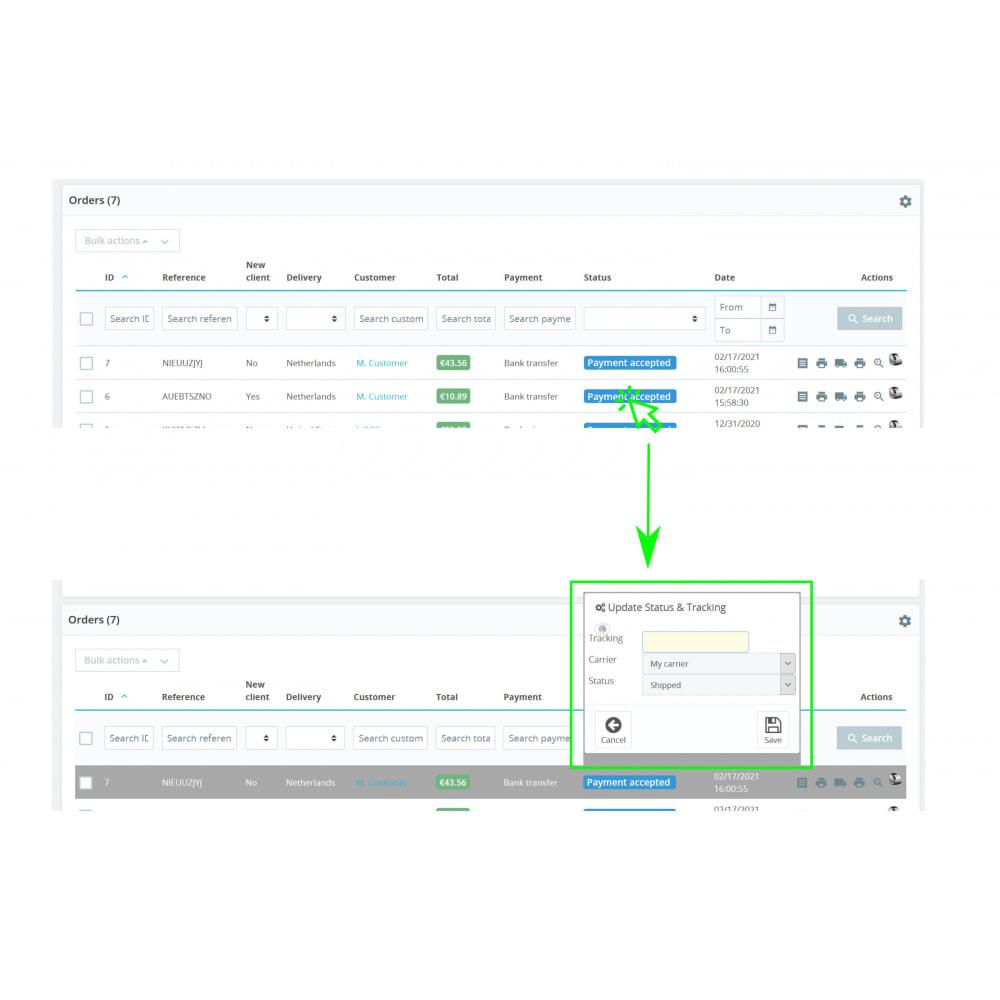 module - Auftragsabwicklung - Status, Spediteur und Verfolgung – Direct Status Update - 1