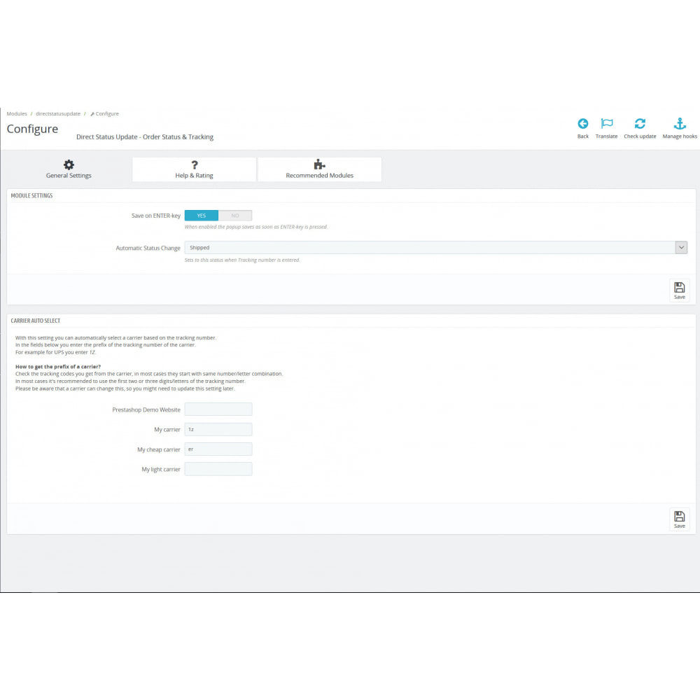 module - Orderbeheer - Status, Verzender & Tracking - Direct Status Update - 3