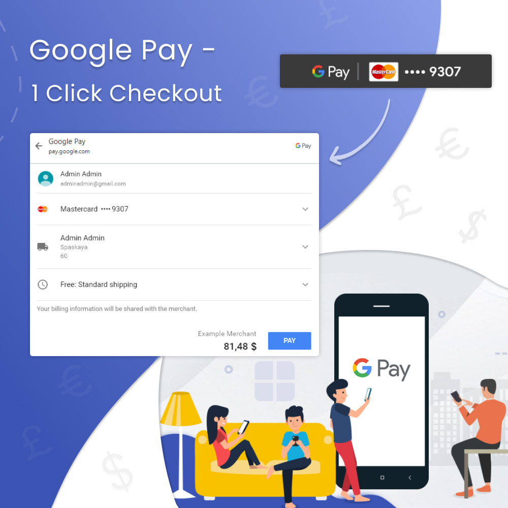 module - Pagamento por cartão ou por carteira - Google Pay - 1 Click Checkout - 1