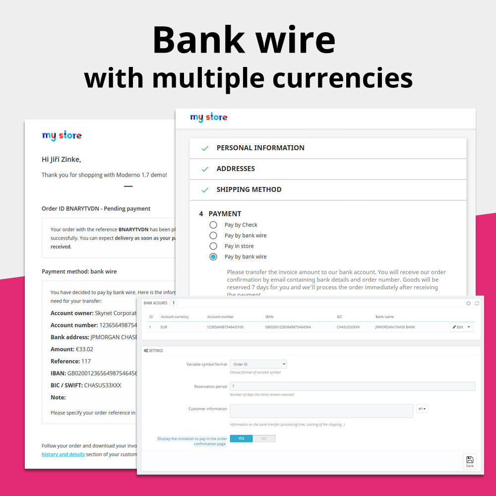 module - Andere Zahlungsmethoden - Bank wire with more accounts per currency - 1