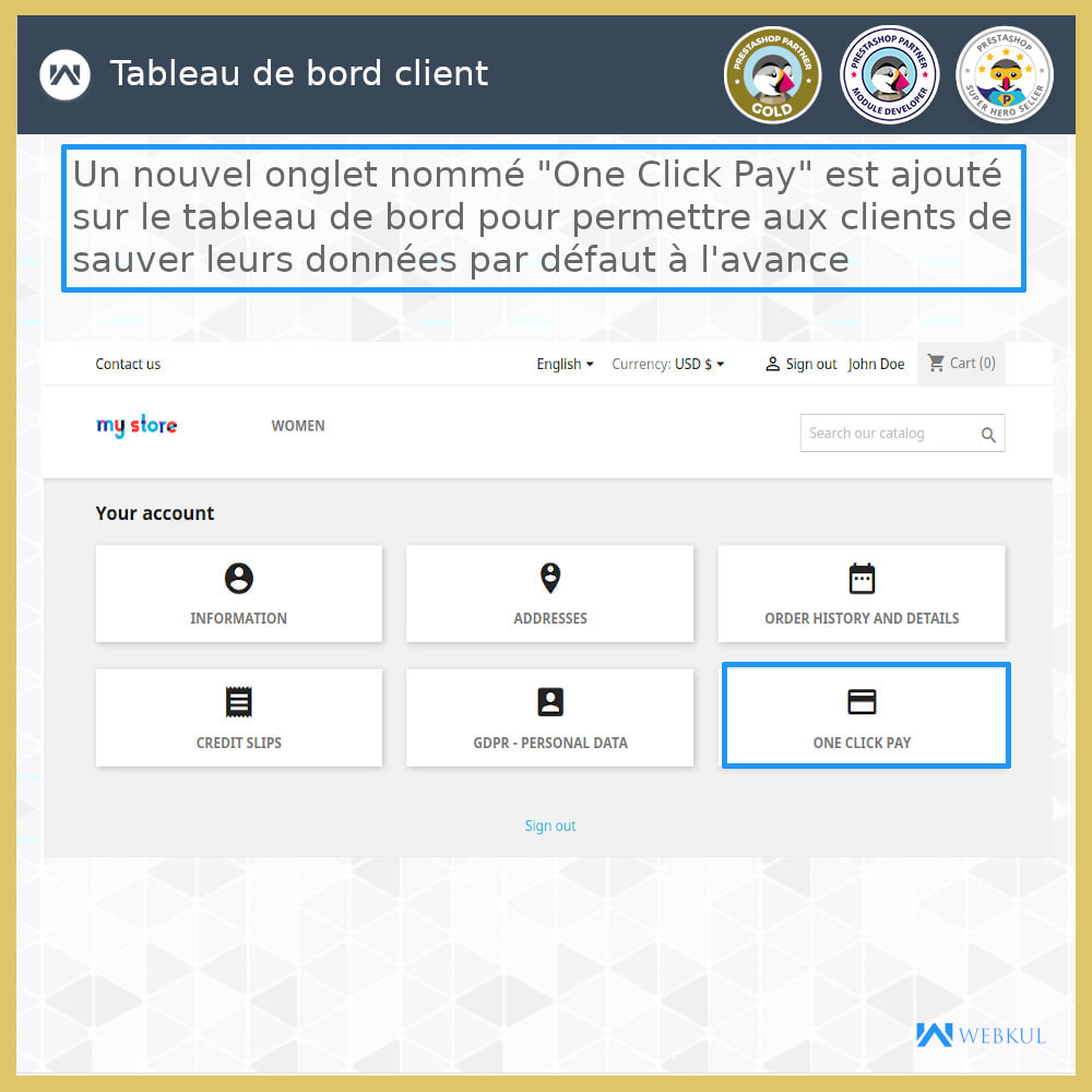 module - Processus rapide de commande - Paiement en un clic  Paiement sans tracas - 3
