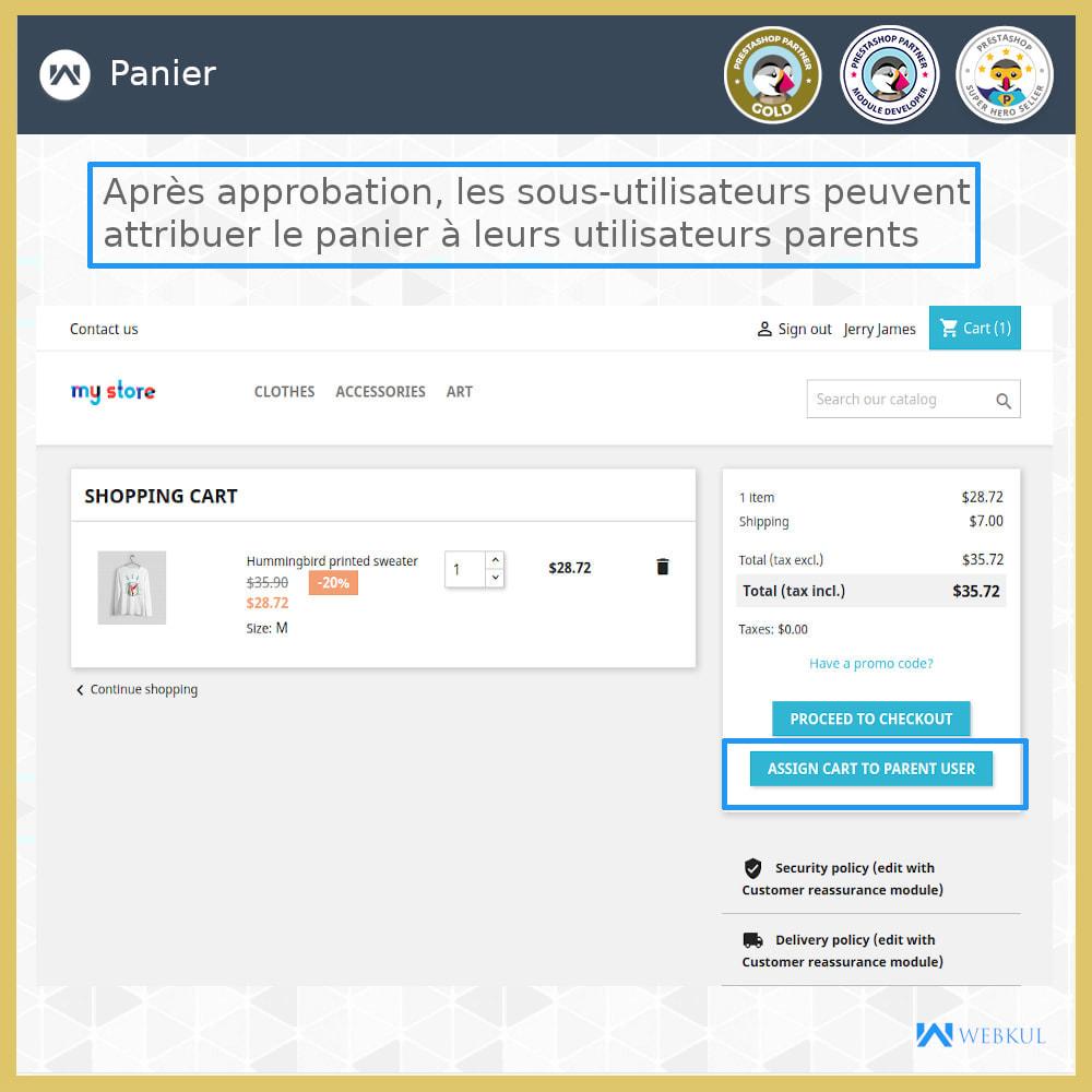 module - Boutons Login & Connect - Ajouter un compte de sous-utilisateur pour l'achat - 1