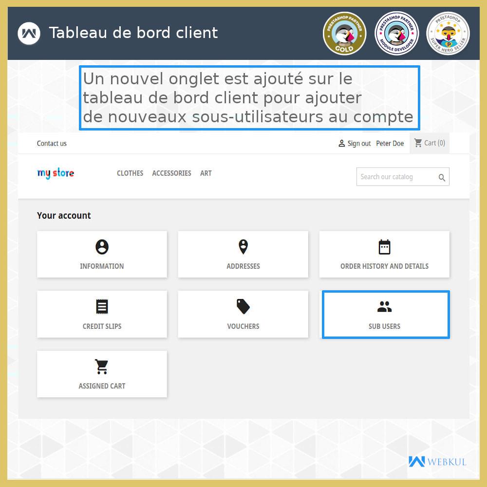 module - Boutons Login & Connect - Ajouter un compte de sous-utilisateur pour l'achat - 4
