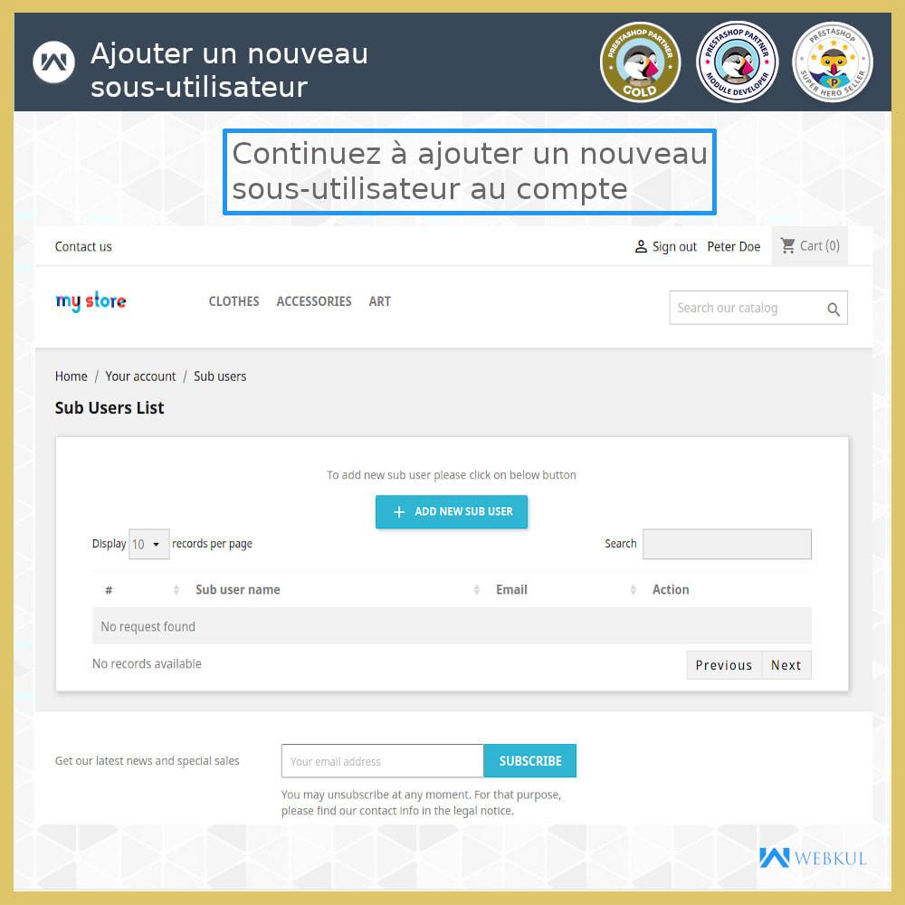 module - Boutons Login & Connect - Ajouter un compte de sous-utilisateur pour l'achat - 5