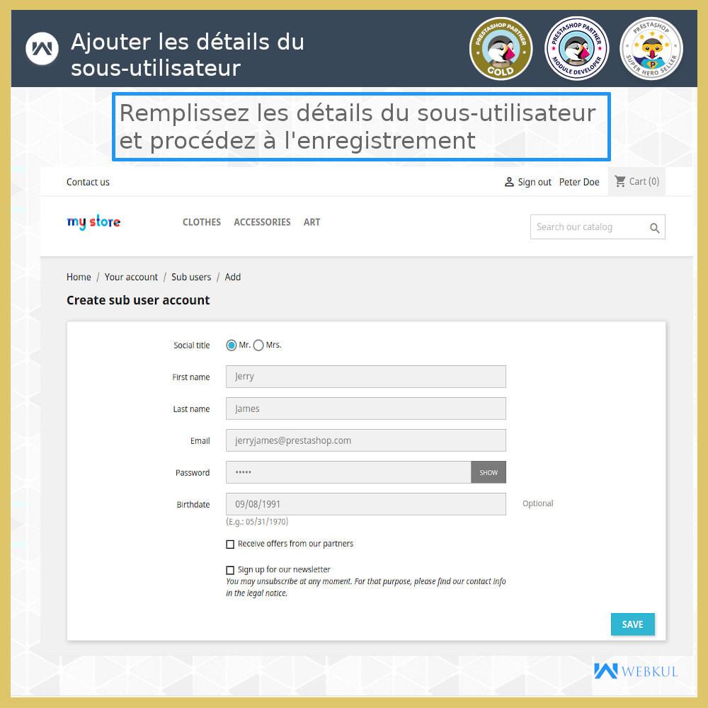 module - Boutons Login & Connect - Ajouter un compte de sous-utilisateur pour l'achat - 6