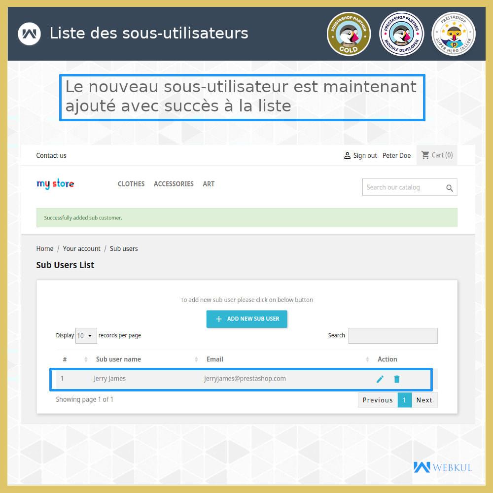 module - Boutons Login & Connect - Ajouter un compte de sous-utilisateur pour l'achat - 7