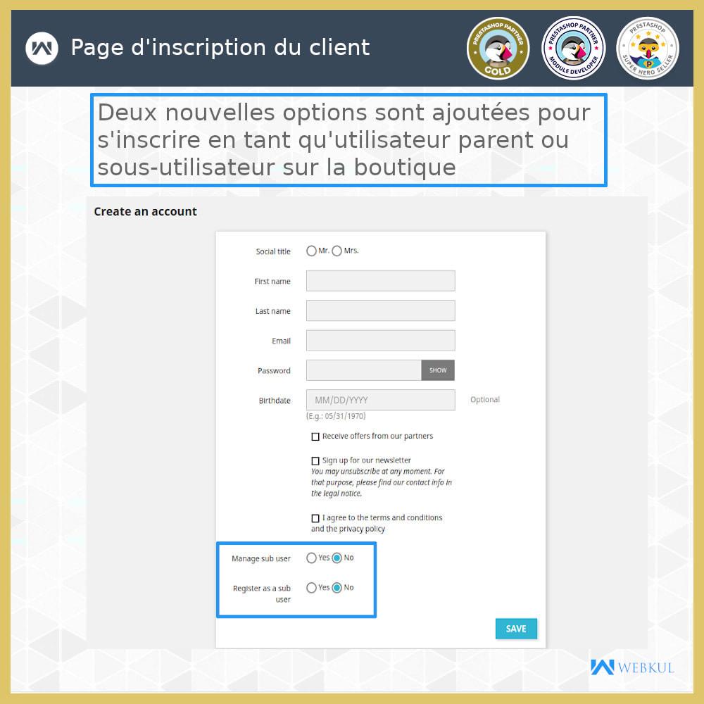 module - Boutons Login & Connect - Ajouter un compte de sous-utilisateur pour l'achat - 9