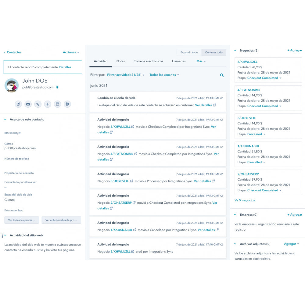 module - Remarketing & Compras abandonados - Integração de comércio eletrônico HubSpot - 11