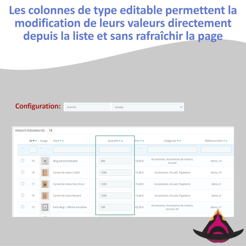 module - Outils d'administration - Personnaliser les colonnes de la liste Produits - 7