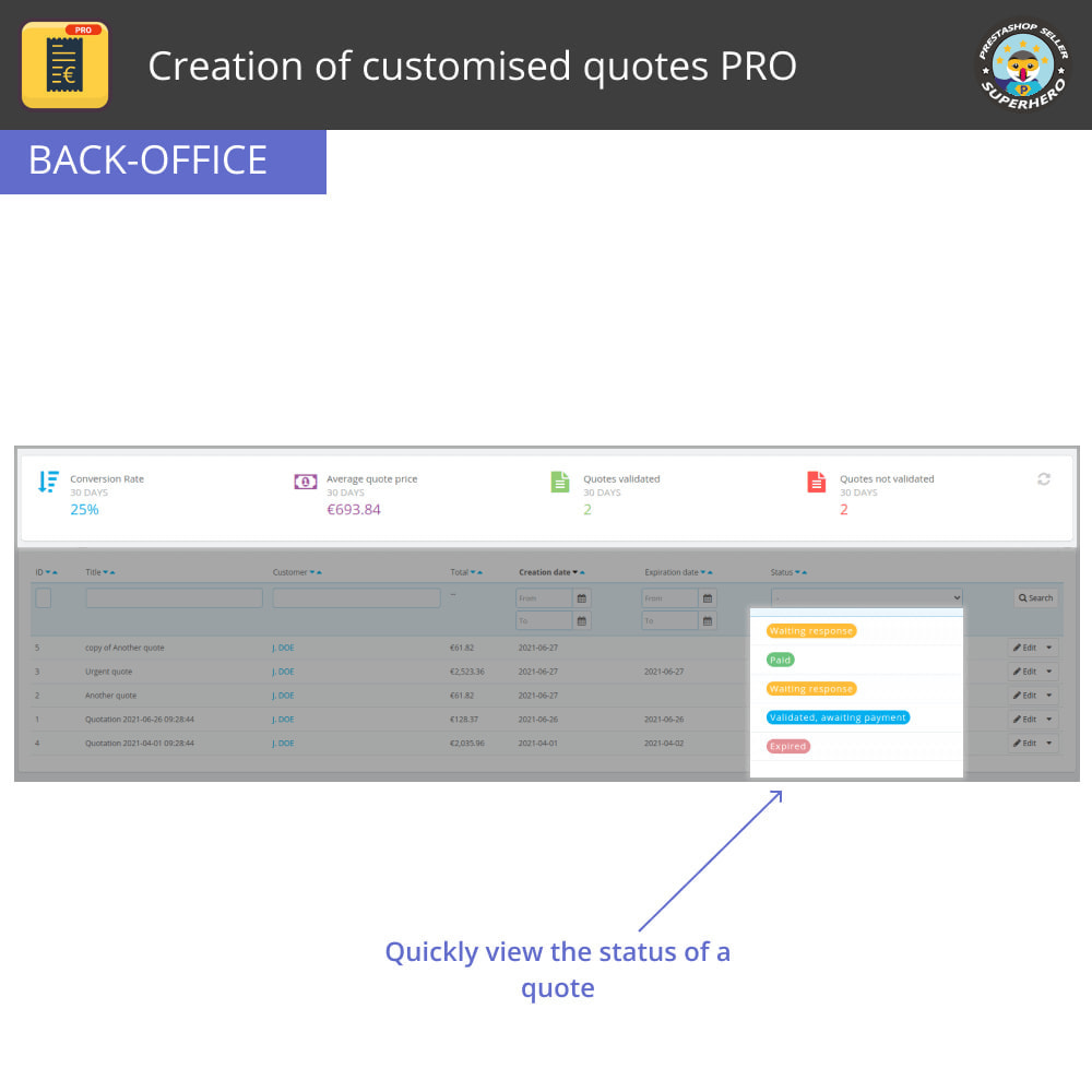 module - Quotes - Creation of customised quotes PRO - 4
