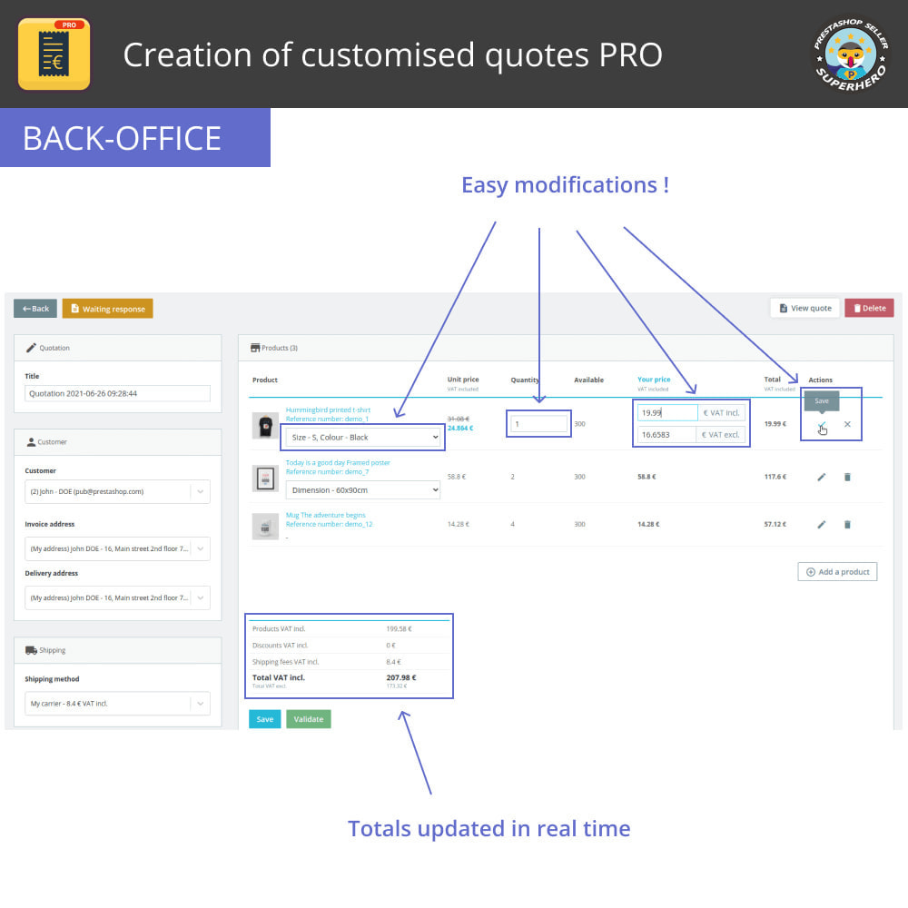 module - Quotes - Creation of customised quotes PRO - 5