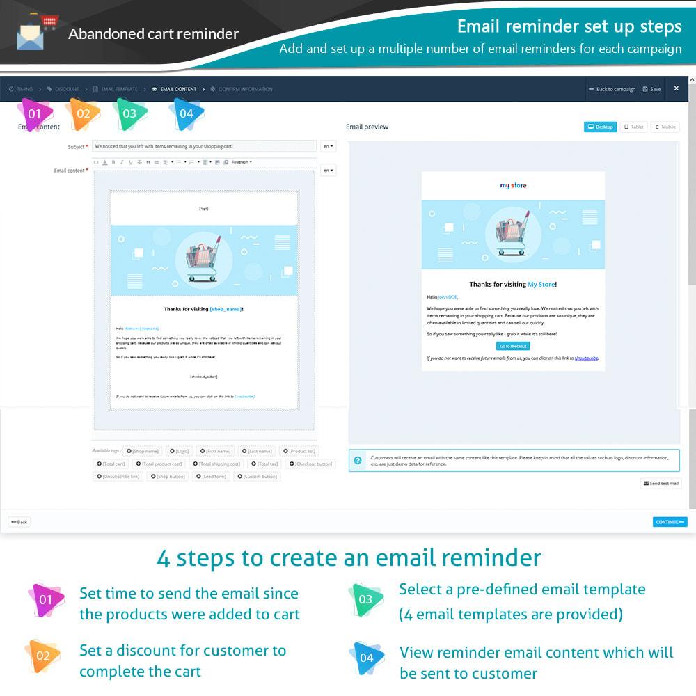 module - Remarketing & Achtergelaten winkelmanden - Abandoned Cart Reminder + Auto Email - 9