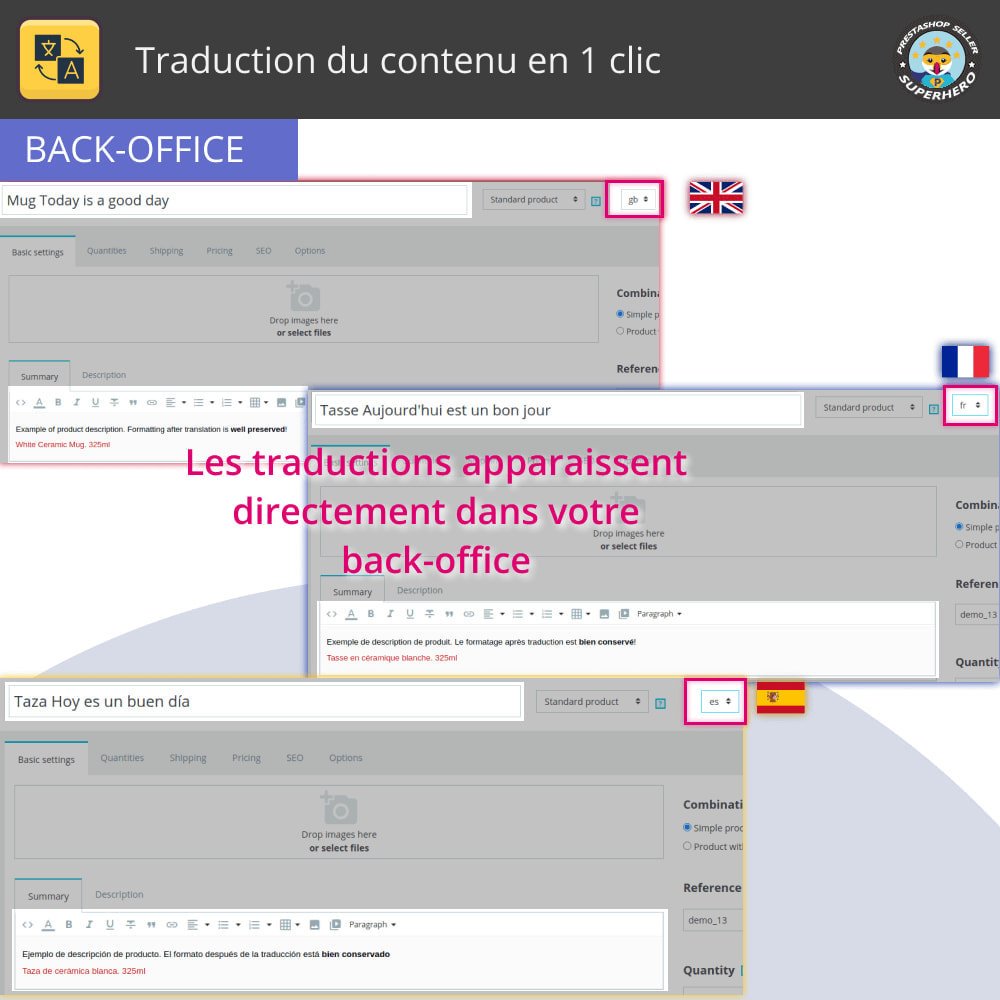 module - International & Localisation - Traduire le contenu - Traduction gratuite et illimitée - 5
