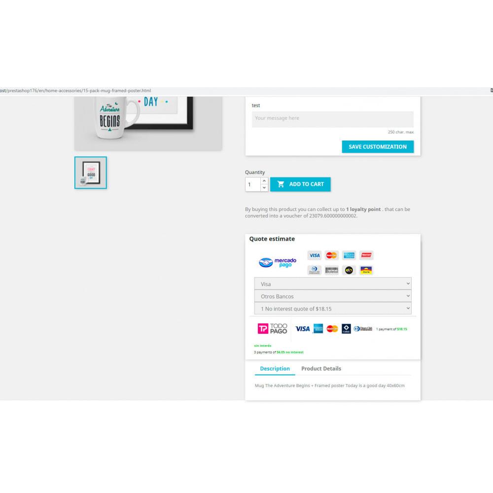 module - Płatność kartą lub Płatność Wallet - Calc Quote Mercadopago / Todopago - 2