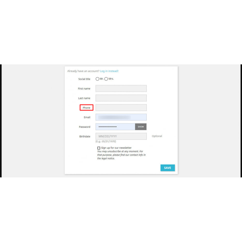 module - Mobile - Add phone to registration form - 2
