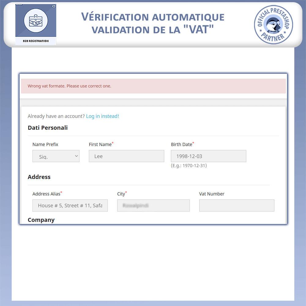 module - Inscription & Processus de commande - Inscription B2B - 6