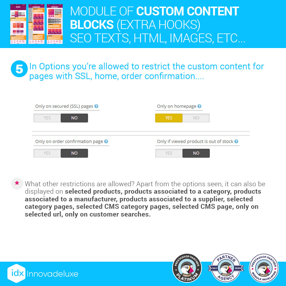 module - SEO (Pozycjonowanie naturalne) - Custom content blocks (SEO Text, HTML, Links, Images) - 7