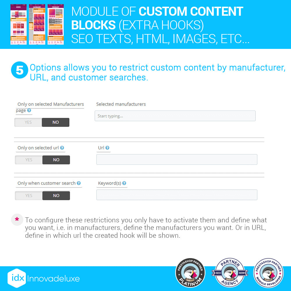 module - SEO (Pozycjonowanie naturalne) - Custom content blocks (SEO Text, HTML, Links, Images) - 8