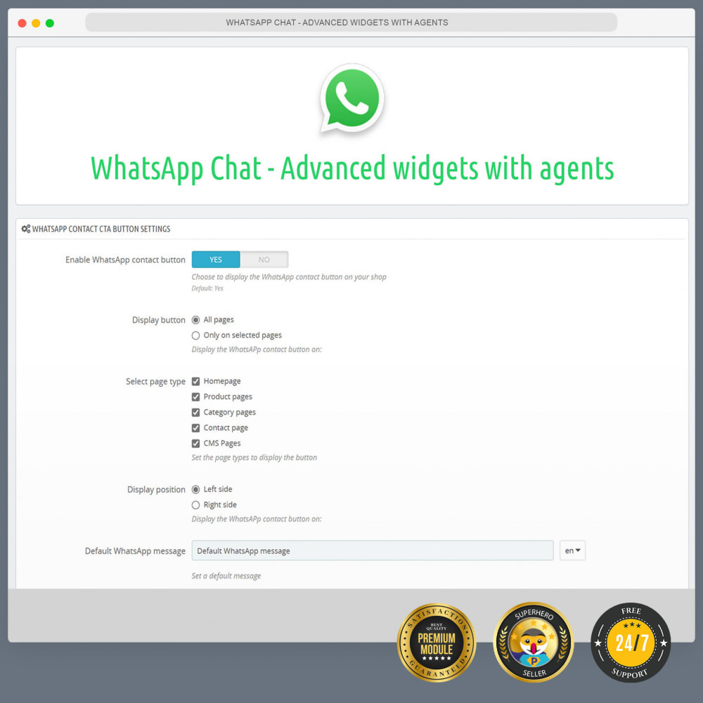 module - Ondersteuning & Online chat - WhatsApp Chat - Advanced widgets with agents - 2