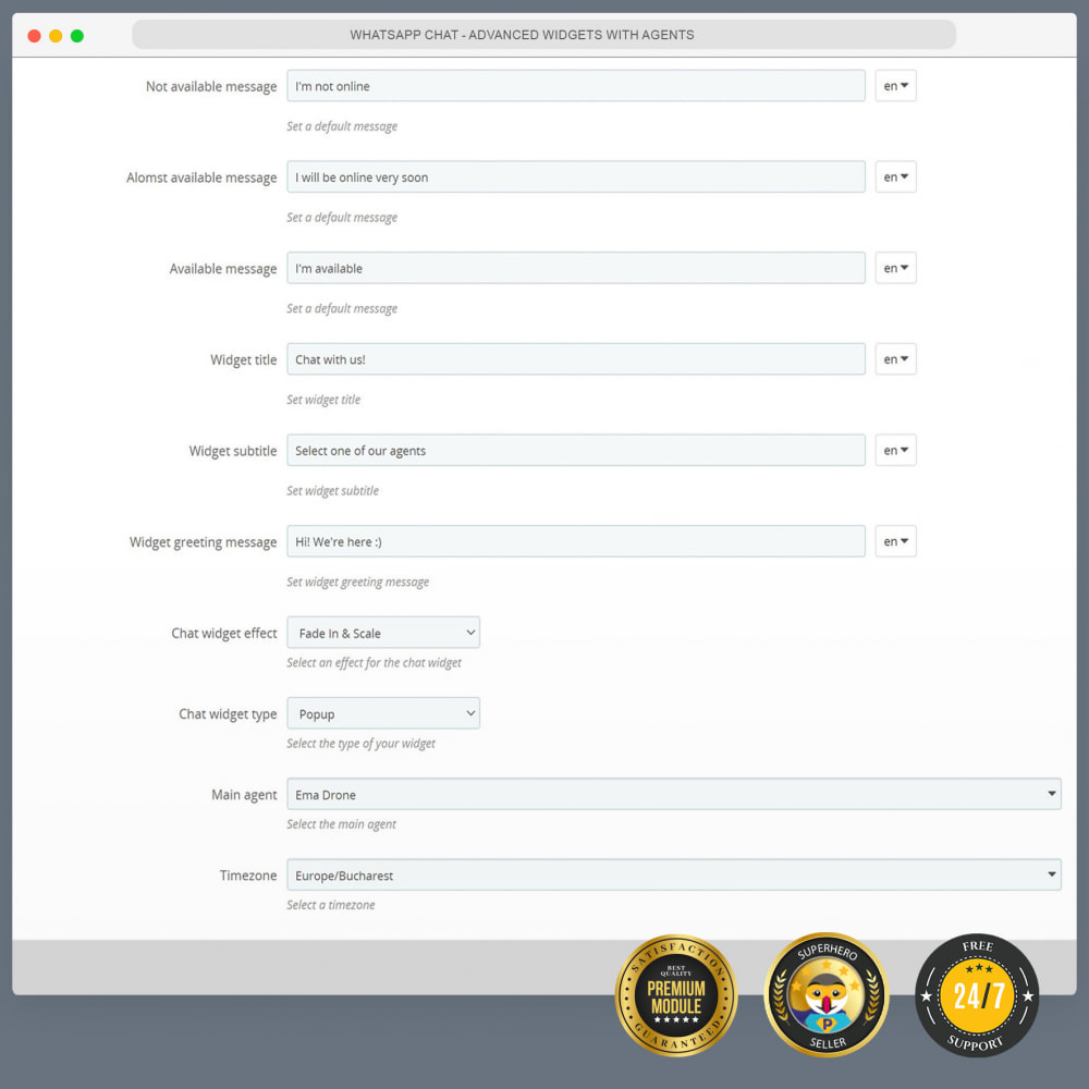 module - Ondersteuning & Online chat - WhatsApp Chat - Advanced widgets with agents - 3