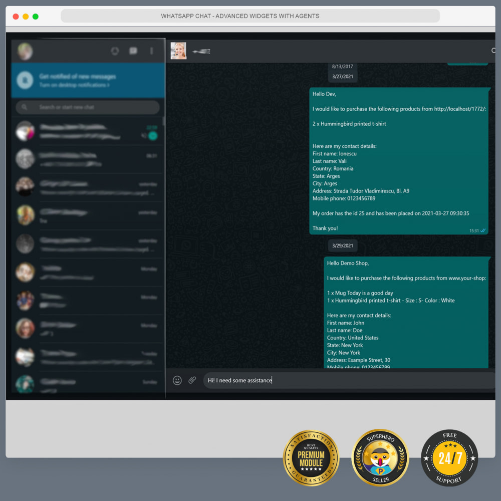module - Ondersteuning & Online chat - WhatsApp Chat - Advanced widgets with agents - 9