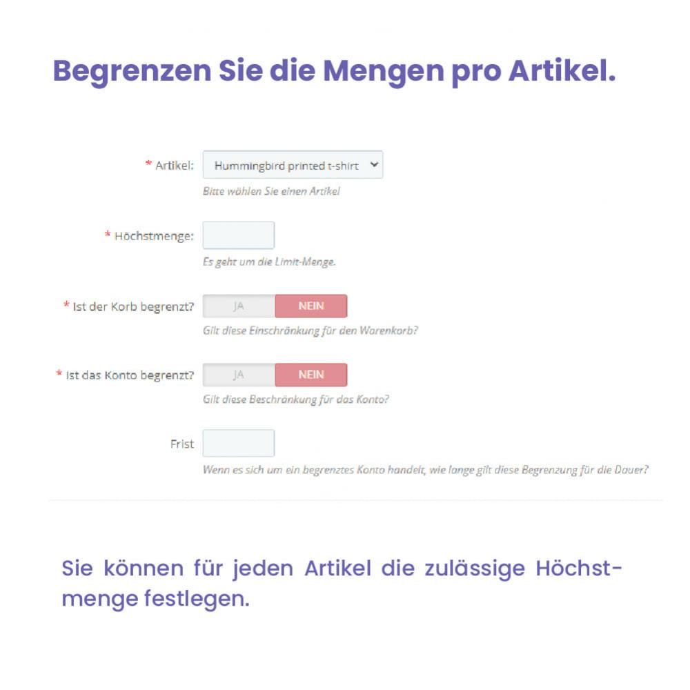 module - Anmeldung und Bestellvorgang - Modul Begrenzung des Warenkorbs - 5