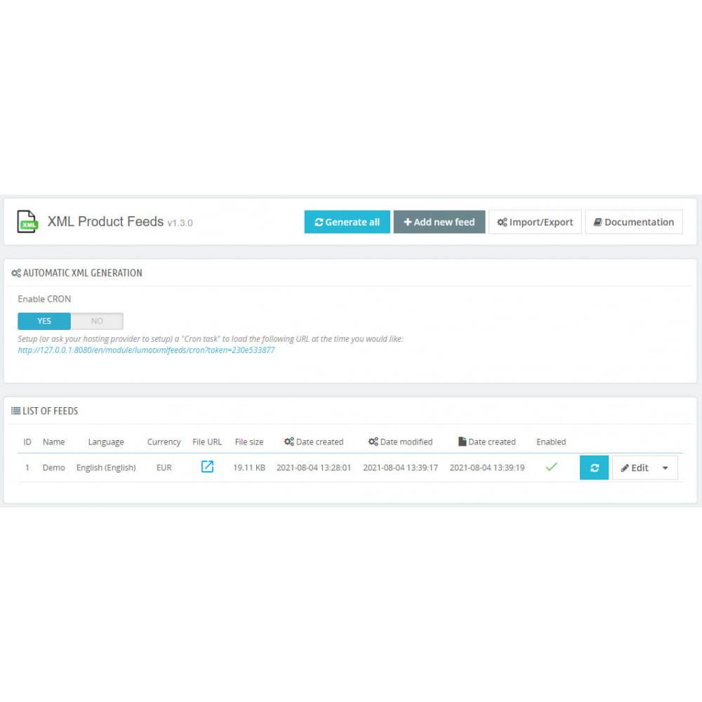 module - Импорт и Экспорт данных - XML Product feeds - 2