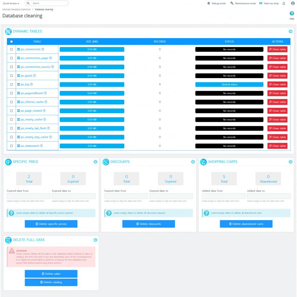 module - Повышения эффективности сайта - Ultimate Database Optimizer - Optimizes and repairs - 8
