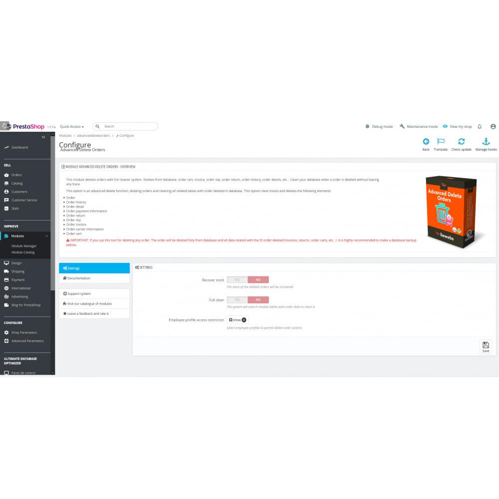 module - Orderbeheer - Advanced Delete Orders - Remove orders - recover stock - 6