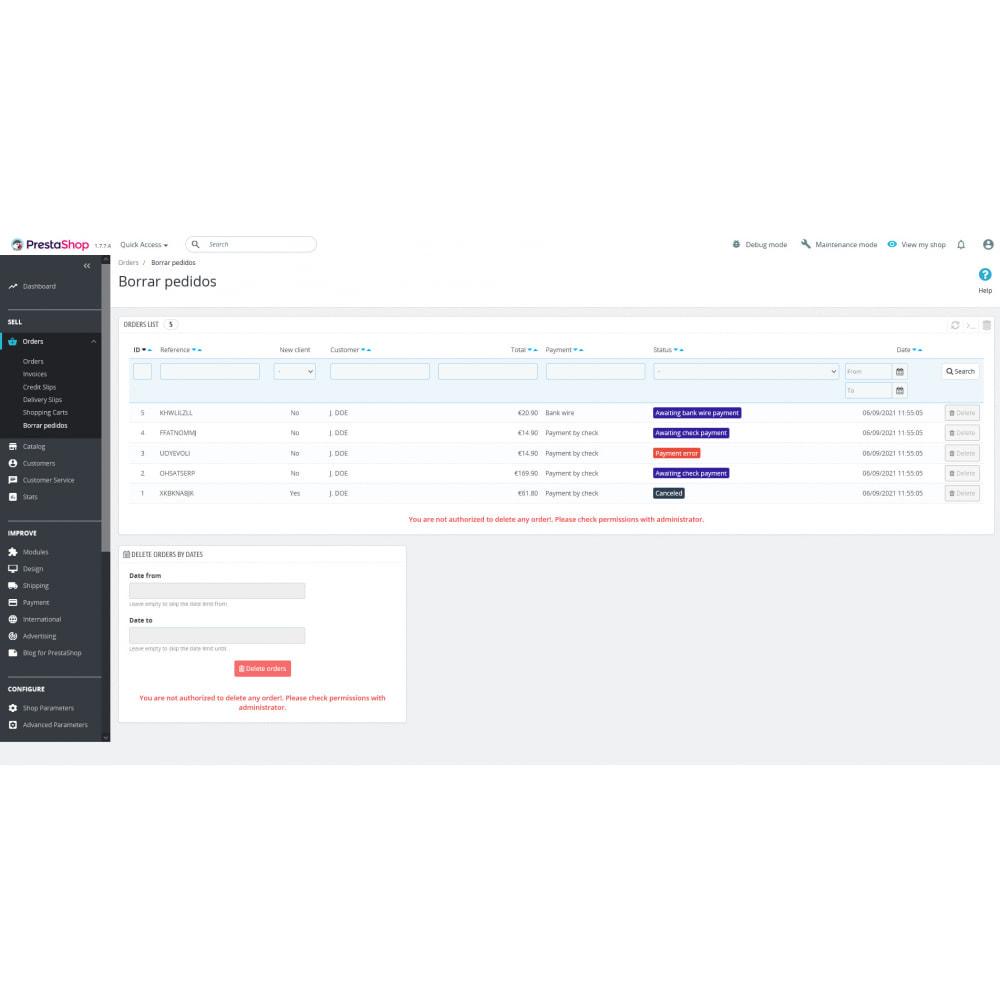 module - Gestion des Commandes - Advanced Delete Orders - Supprimer les commandes - 5