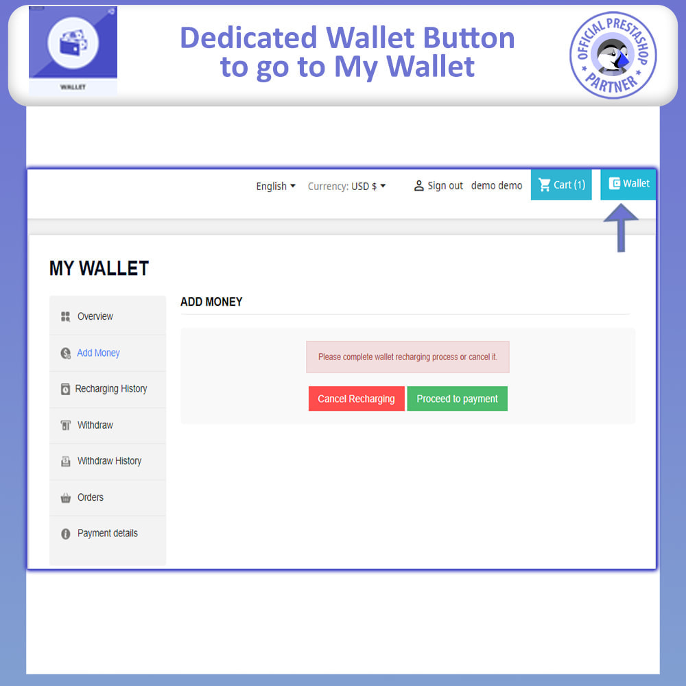 module - Payment by Card or Wallet - Wallet System Advance | Prepayment and Discounts - 3