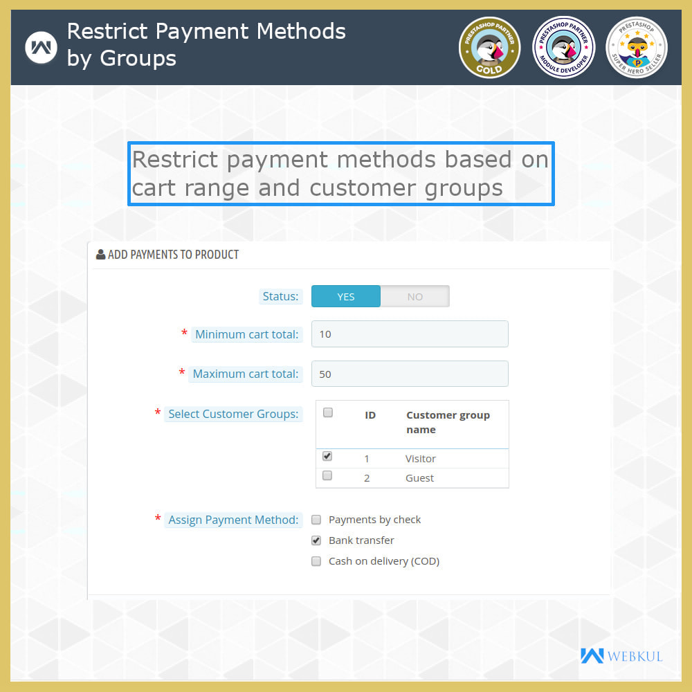 module - Pagamento - Payment Restrictions by Products/Categories/Groups - 3