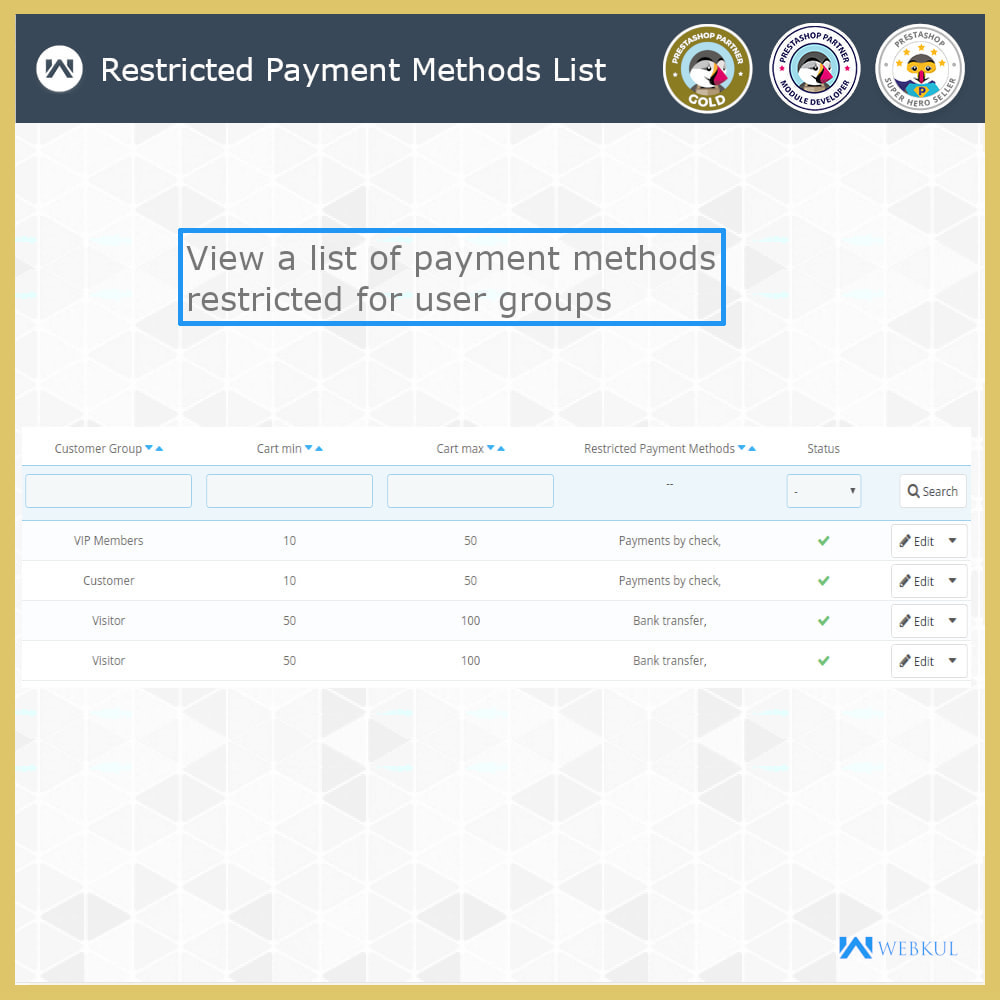 module - Pagamento - Payment Restrictions by Products/Categories/Groups - 5