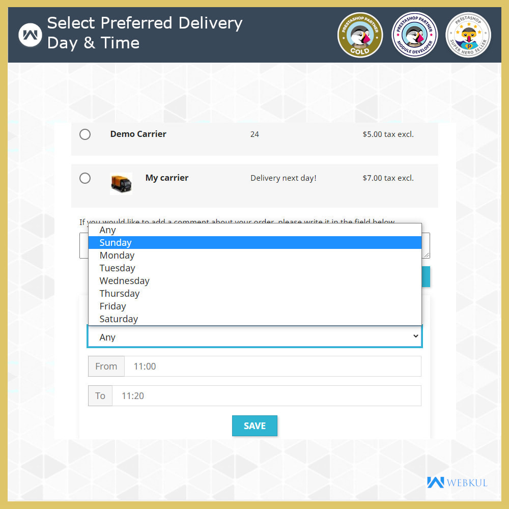 module - Дата доставки - Delivery Time Slot - 3
