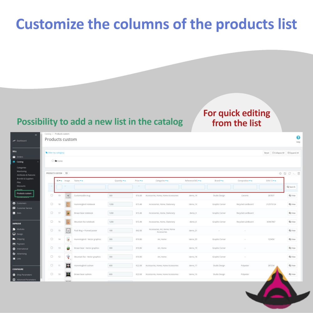 module - Narzędzia administracyjne - Customize the columns on the products list - 3